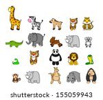 big set funny animal  | Shutterstock . vector #155059943