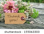 pink flowers and card with... | Shutterstock . vector #155063303