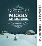 merry christmas postcard... | Shutterstock .eps vector #155090957