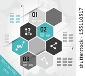 turquoise infographic hexagons with axis. infographic concept. | Shutterstock vector #155110517