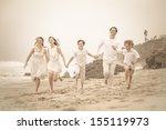 happy healthy family running at ...   Shutterstock . vector #155119973
