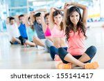 group of fit people at the gym... | Shutterstock . vector #155141417