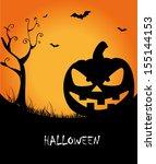 halloween icons over purple... | Shutterstock .eps vector #155144153