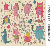 cute funny animals in vector.... | Shutterstock .eps vector #155170277