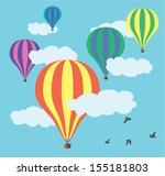 vector hot air balloons in the... | Shutterstock .eps vector #155181803
