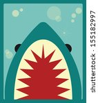 Shark poster, vector illustration - stock vector