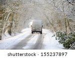 van driving on winter snow...