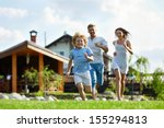 running people on a lawn at the ... | Shutterstock . vector #155294813