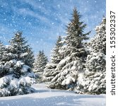fir trees covered by snow | Shutterstock . vector #155302337