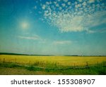 Field Under Sky In Grunge