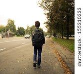 schoolboy walk alone   Shutterstock . vector #155310233