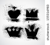 grunge royal crowns vector set... | Shutterstock .eps vector #155316983