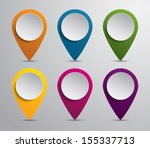 set of paper map pointers for... | Shutterstock .eps vector #155337713