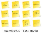 yellow sticky notes with job... | Shutterstock .eps vector #155348993