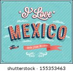 Vintage greeting card from Mexico - Mexico. Vector illustration.