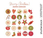Advent calendar with various seasonal objects and symbols