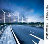 highway and wind turbines | Shutterstock . vector #155373467