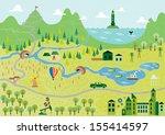 cartoon map seamless pattern | Shutterstock .eps vector #155414597