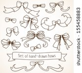 set of hand drawn bows. | Shutterstock .eps vector #155458883