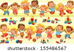 happy jumping kids holding... | Shutterstock .eps vector #155486567