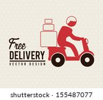 Free deliver with motorcycle messenger over beige background
