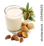 almonds drink with almonds... | Shutterstock . vector #155490653