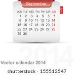 Calendar September 2014. Vector.