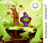 vector illustration of witch in ... | Shutterstock .eps vector #155530277