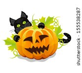 evil halloween pumpkin and... | Shutterstock . vector #155538287