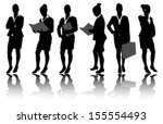 business woman silhouettes | Shutterstock .eps vector #155554493
