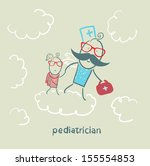 pediatrician with baby runs on... | Shutterstock .eps vector #155554853