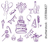 birthday party set silhouette... | Shutterstock .eps vector #155586827