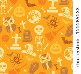 seamless pattern with halloween ... | Shutterstock .eps vector #155589533