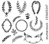 vector collection of hand drawn ... | Shutterstock .eps vector #155605247