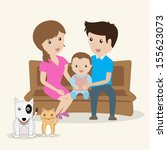 i love my family. cartoon... | Shutterstock .eps vector #155623073