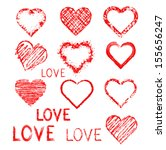 set of grunge hearts | Shutterstock .eps vector #155656247