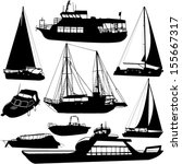 boats silhouettes   vector | Shutterstock .eps vector #155667317