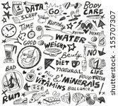 health food diet   doodles set | Shutterstock .eps vector #155707307