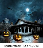 halloween pumpkins in the yard... | Shutterstock . vector #155713043