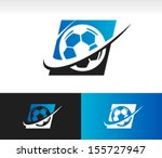 soccer ball logo icon with... | Shutterstock .eps vector #155727947