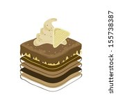 a piece of chocolate cake in... | Shutterstock .eps vector #155738387