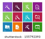 magician icons on color...