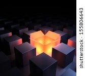 unique luminous opened box. 3d... | Shutterstock . vector #155806643