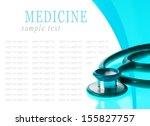 stethoscope on blue  reflective ... | Shutterstock . vector #155827757