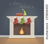 christmas card with fireplace...
