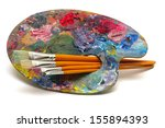 Pallette With Brushes On A...