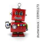 red  little vintage toy robot... | Shutterstock . vector #155901173