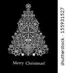 christmas card. christmas tree.  | Shutterstock .eps vector #155931527