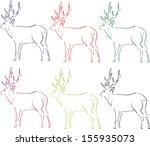 illustration of deer in contour ... | Shutterstock . vector #155935073