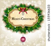 label christmas  with pine... | Shutterstock .eps vector #155936633